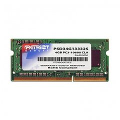 Operatiivmälu PATRIOT DDR3-1333 4 GB NON-ECC CL9 SODIMM Unbuffered