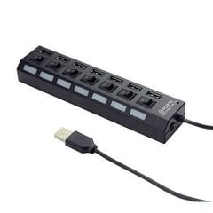 Kontsentraator Gembird 7-port HUB with switch, USB 2.0 powered, must