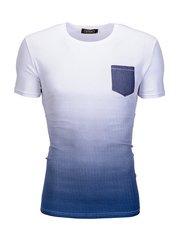 Meeste T-särk Ombre S427, valge/sinine