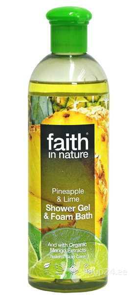 Dušigeel ja vannivaht Faith in Nature Pineapple & Lime 250 ml hind ja info | Dušigeelid, seebid | kaup24.ee
