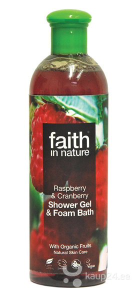 Dušigeel ja vannivaht Faith in Nature Raspberry & Cranberry 250 ml цена и информация | Dušigeelid, seebid | kaup24.ee
