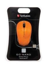 Juhtmeta hiir Verbatim Wireless Go Nano. 2,4GHz, Oranž hind ja info | Hiired | kaup24.ee